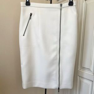 J Crew B0145 Asymmetrical ZIP Ivory Wool Skirt 0